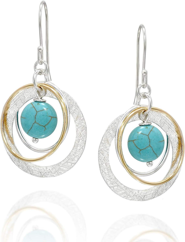Stera Jewelry - Pendientes de plata de ley 925 con múltiples aros de oro turquesa o ónice negro