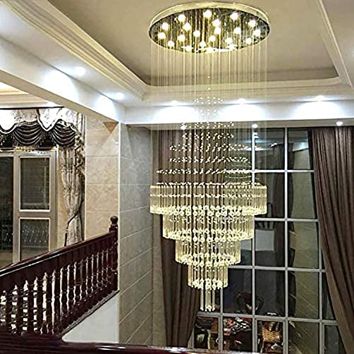 Siljoy Modern K9 Crystal Raindrop Chandelier Lighting Flush Mount Large LED Ceiling Light Fixture Pendant Lamp