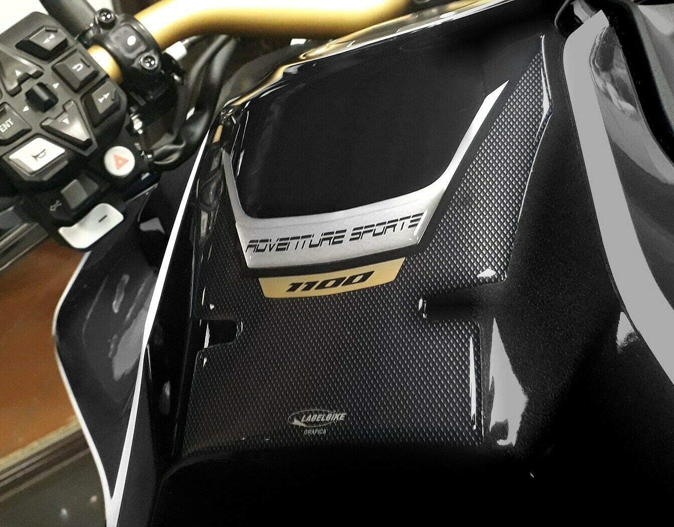 KIT 3 Stickers Gel Motorrad Tank kompatibel mit Honda Africa Twin Adventure Schwarz 1100 L.