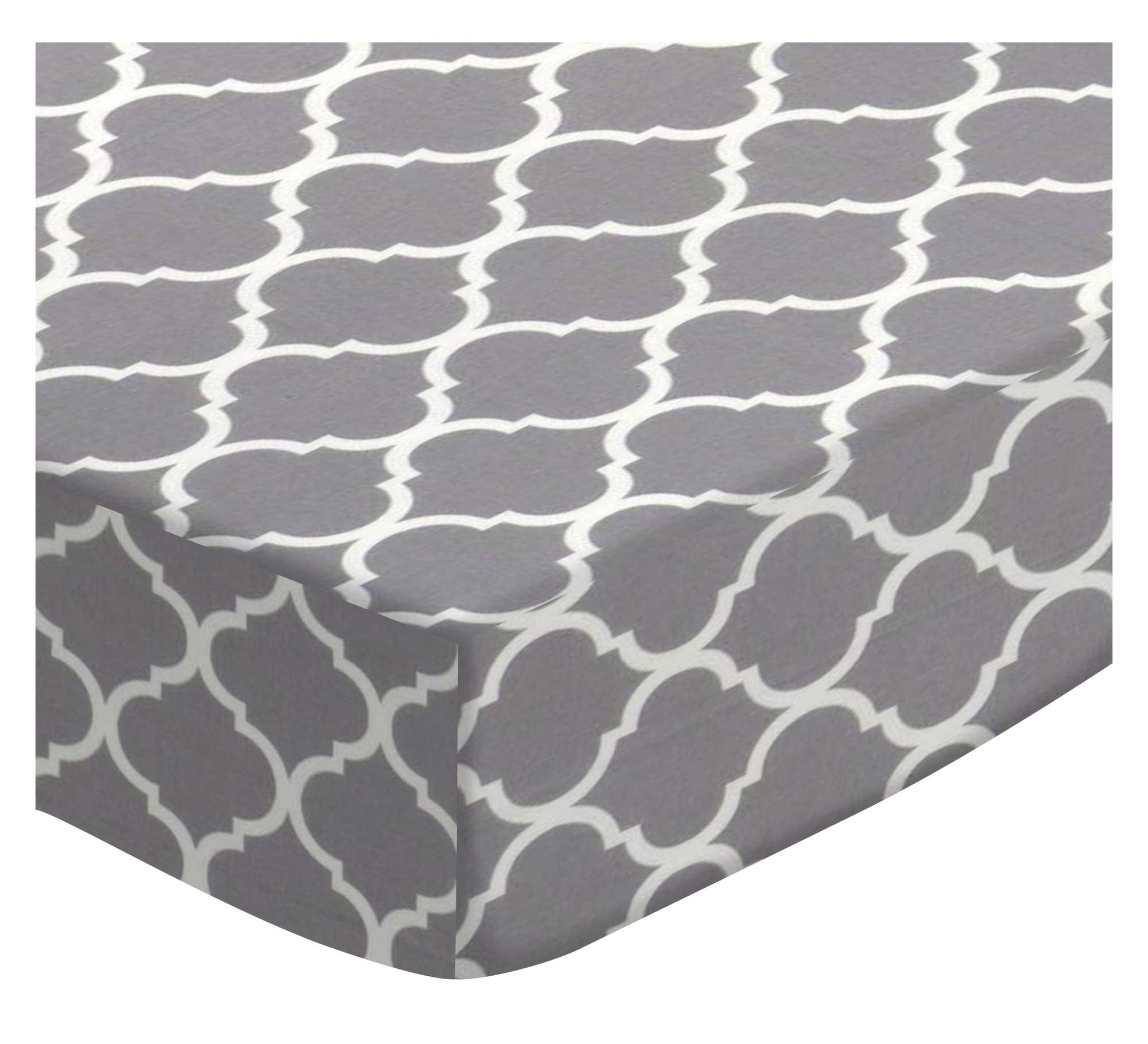 SheetWorld Fitted Pack N Play Sheet Fits Graco Square Playard 36 x 36 - Grey Large Quatrefoil - Made in USA by SHEETWORLD.COM (Image #1)