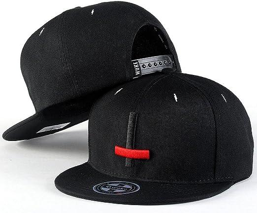 Aivtalk - Negra Gorra de Béisbol Unisex Sombrero Plano con Bordado ...