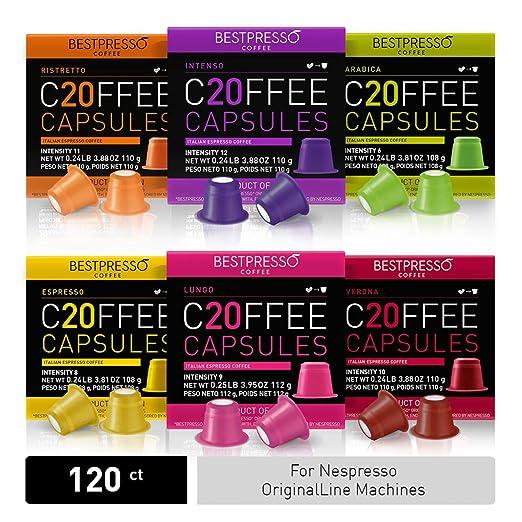 Bestpresso Coffee for Nespresso Original Machine 120 pods Certified Genuine Espresso Variety Pack Pods