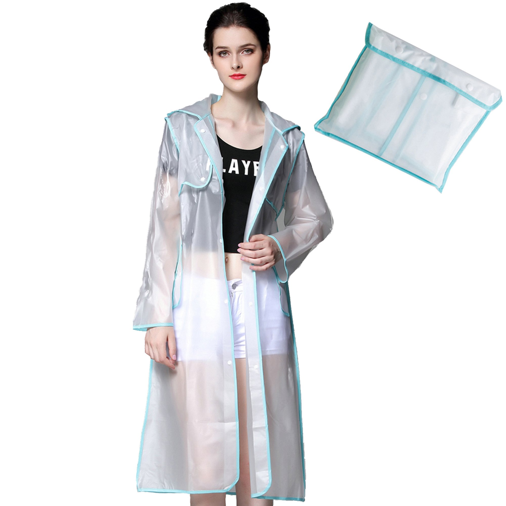 Womens Waterproof Hooded Raincoat Lightweight Easy Carry Semi-transparent Poncho Runaway Style Reusable Rainwear Blue Large