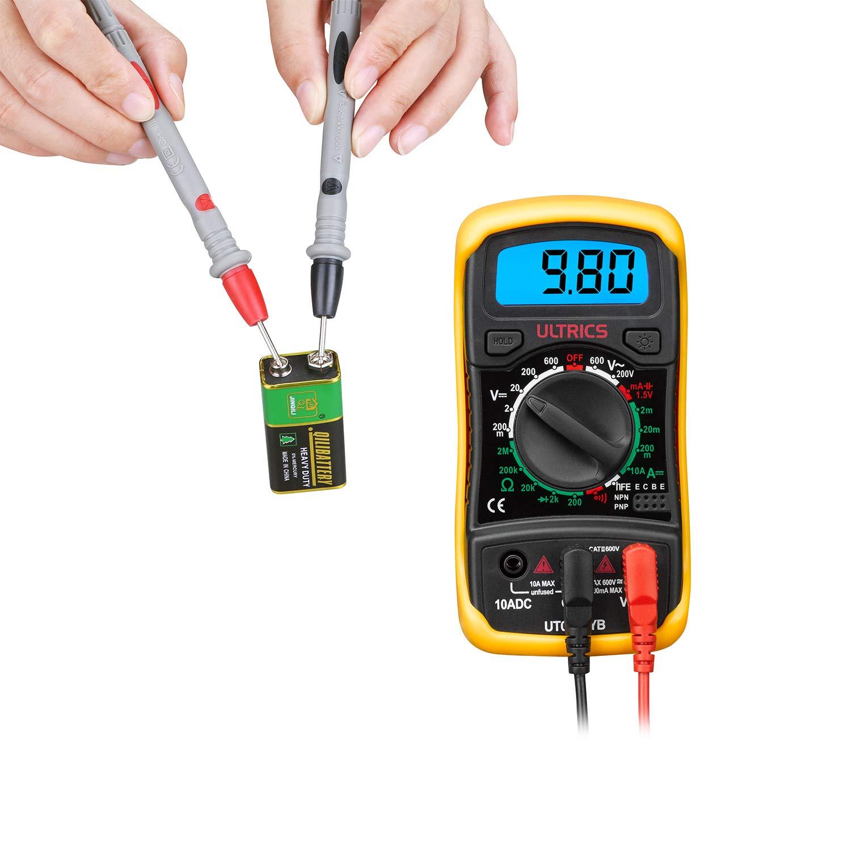 Ultrics Digital Lcd Multimeter Voltmeter Ammeter Ohm Ac Dc Circuit Checker Tester Buzzer 1000v 10a Probes Diy Tools