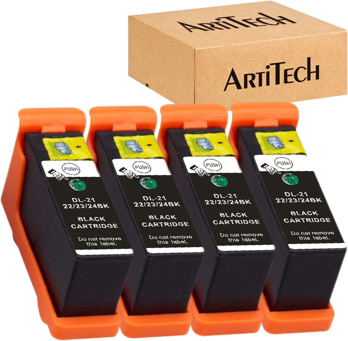 Replace for Dell Series 21 Ink Cartridges Compatible for Dell V515w, V715w, P513w, P713w, V313, V313w, P713w, All-in-One Printers 4 Pack for Dell Black Series 21, Series 22, Series 23