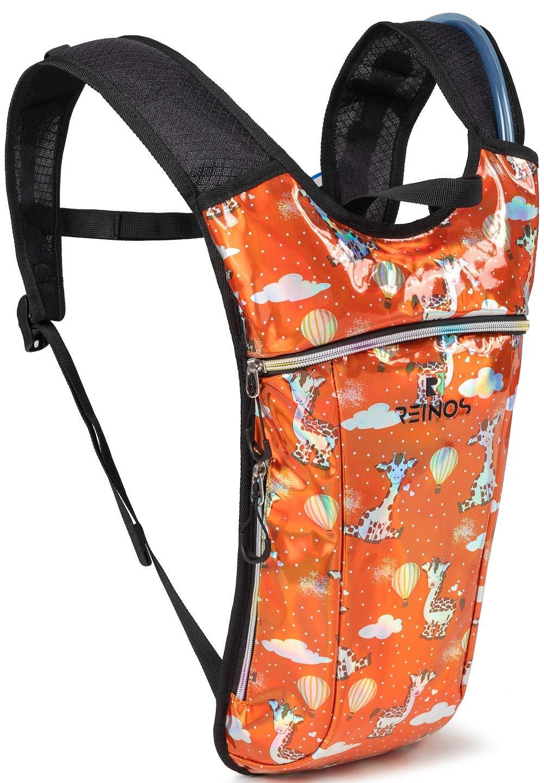 REINOS Hydration Backpack - Light Water Pack - 2L Water Bladder Included for Running, Hiking, Biking, Festivals, Raves (Giraffe) by REINOS