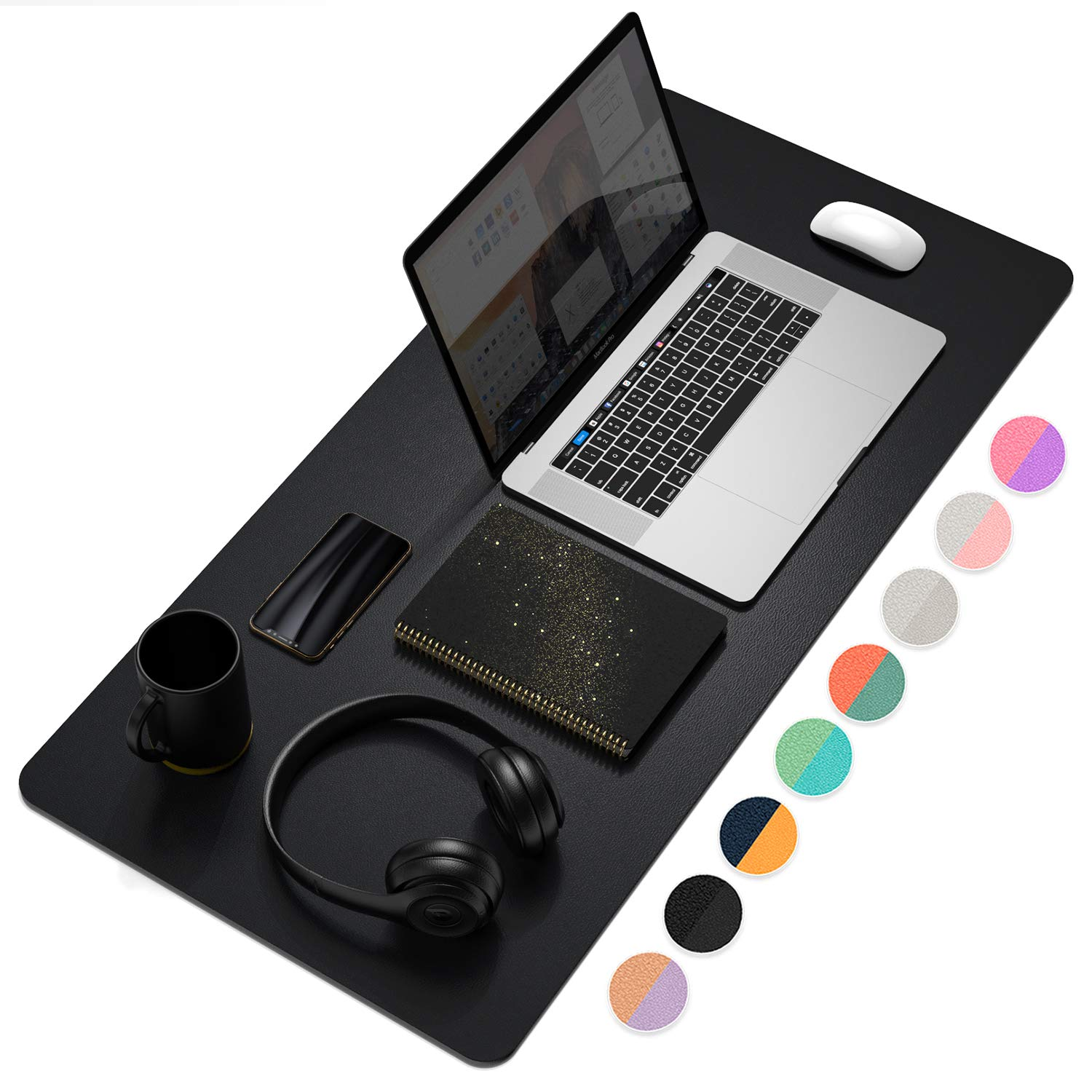 Dual-Sided Multifunctional Desk Pad, Waterproof Large Mouse Pad, Leather Desk Wrting Mat Desk Protector