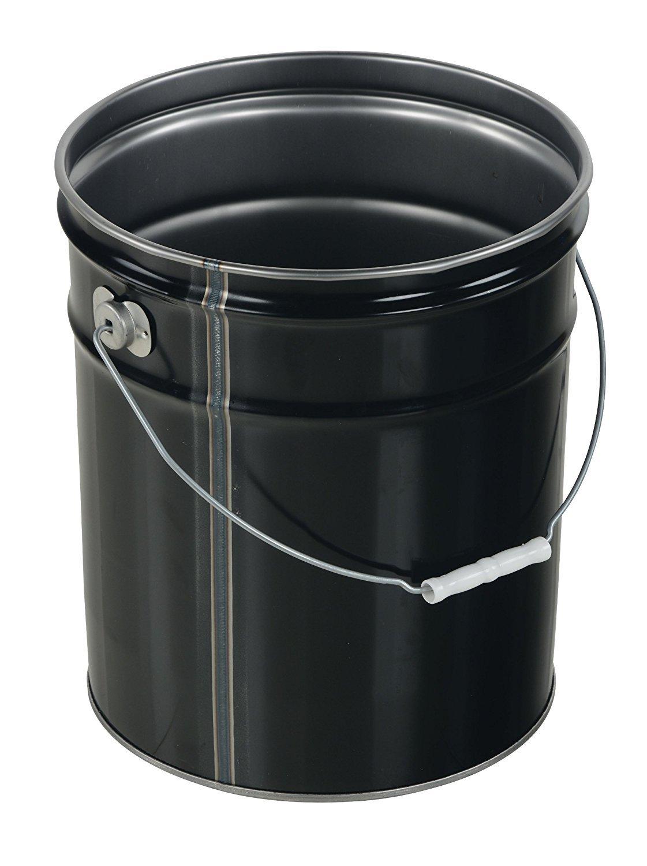 Vestil PAIL-STL-RI Steel Open Head Pail with Handle, 5 gallon Capacity, Black (Pack of 2) by Vestil (Image #3)