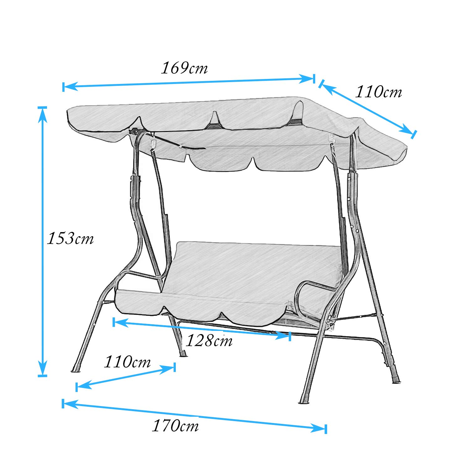Coffee Color DlandHome 2 seater Outdoor Swinging Chair Large Adjustable Canopy Sling Chair Adult Swing for Garden Patio