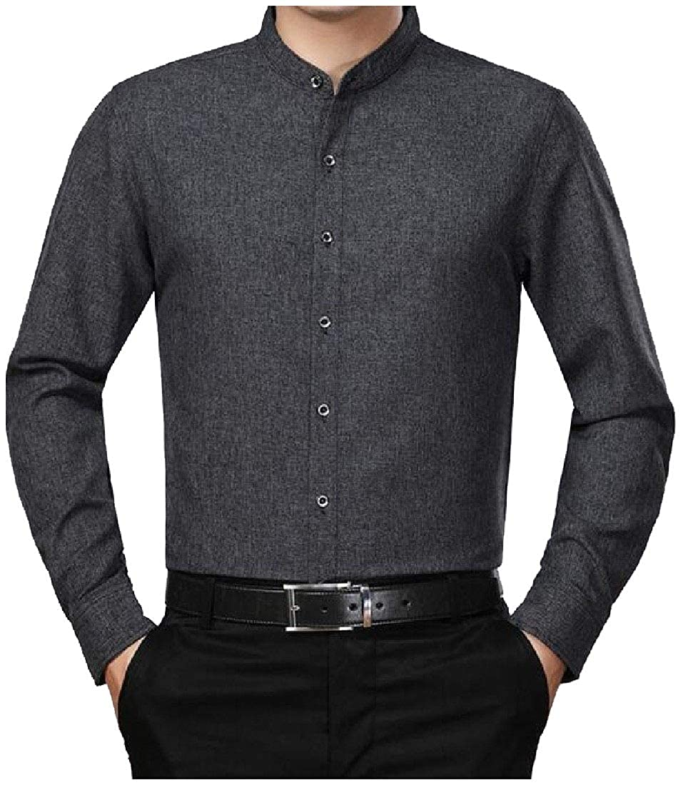 YUNY Mens Mandarin Collar Winter Button Long-Sleeve Solid Western Shirt Dark Grey 2XL