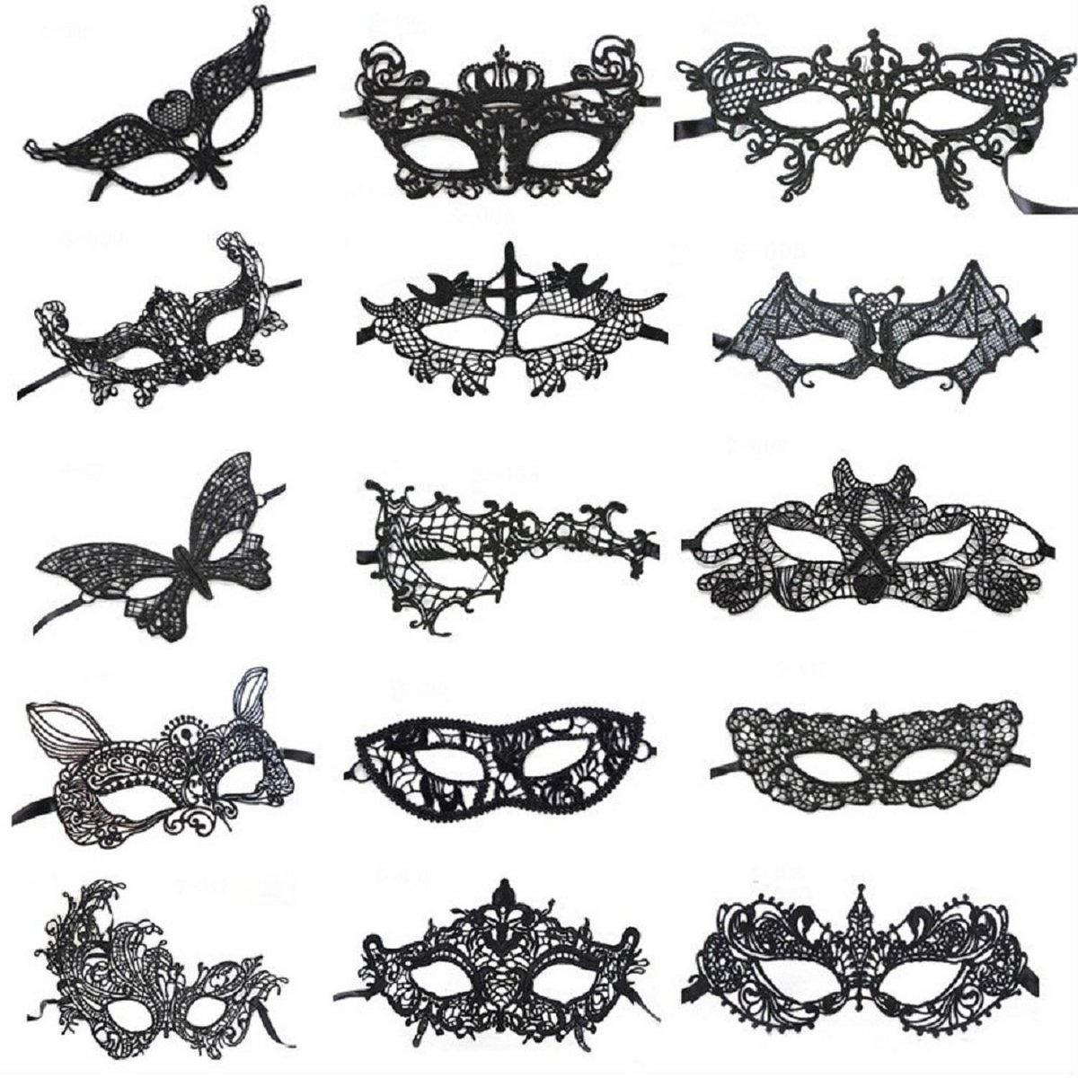 Venetian Style Black Lace Masquerade Party Masks Set of 15 Black One Size by CISMARK