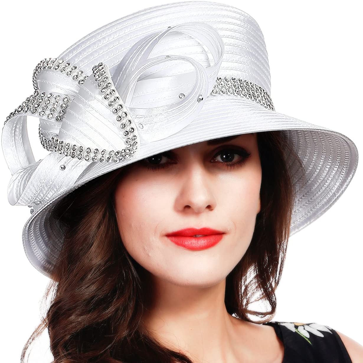 FORBUSITE Church Kentucky Derby Dress Hats for Women White Striped at  Women's Clothing store
