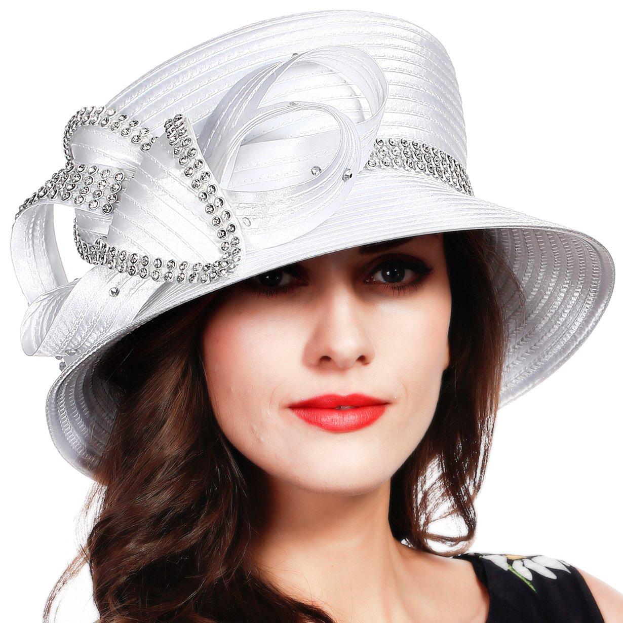 FORBUSITE Stripe Ribbon Asymmetry Church Derby Dress Hat SD707 (White)
