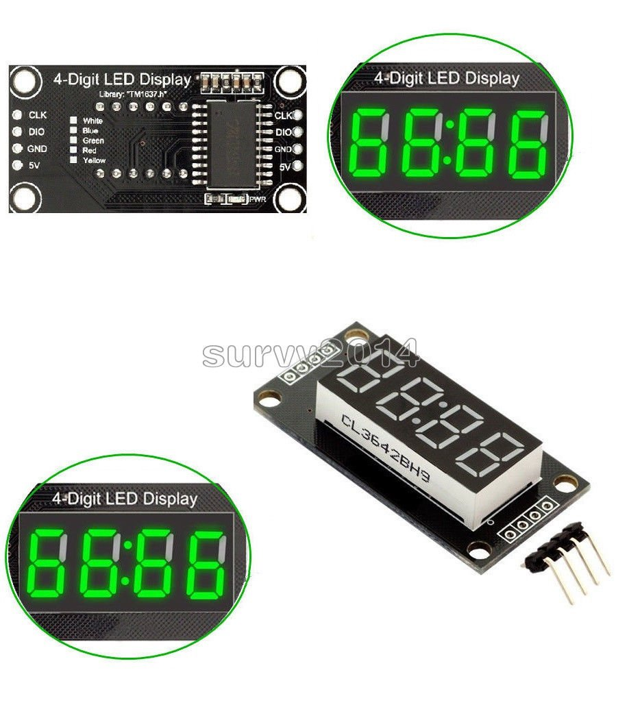 056 Inch Green Tm1637 4bit Digital Led Display Clock Tube Using Pic Microcontroller Compatible With Arduino