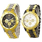 BID Analogue Multicolour Dial Black with Rosara Watch for Men -Combo of 2