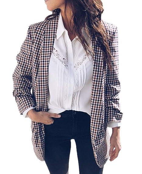 Chaquetas Mujer Vintage Fashion Clásica A Cuadros Abrigos Elegantes Basic Manga Larga De Solapa Anchas Ocasional Cómodo Chaqueta Outerwear Primavera Otoño ...