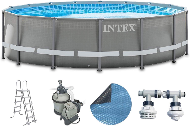 Intex - Juego completo prémium de piscina de 488 x 122 cm con filtro de arena, escalera de seguridad y cubierta solar, con pared y marco de metal: Amazon.es: Jardín
