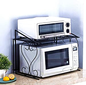 Doki Metal Microwave Rack European-style Kitchen Counter Organizer and Rustless Kitchen Cabinet Shelf (Black