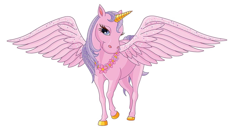 Wandtattoo Kinderzimmer Pinkes Einhorn mit Flügeln und Pferdehaar Wandsticker