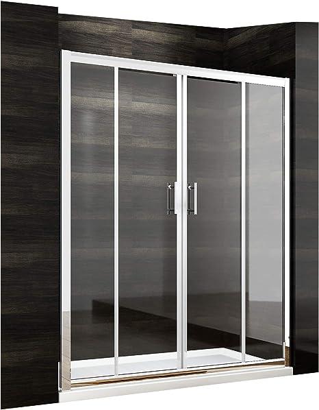 De nuevo para apertura de 1500 mm para pared doble puerta corredera de ducha 2-galvanizada de cristal: Amazon.es: Hogar