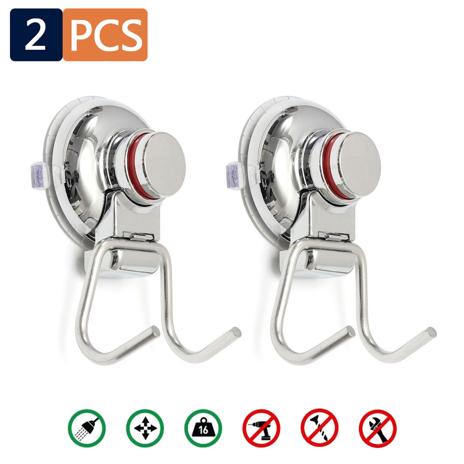 2PCS Suction Cups Vacuum Hook ,  Bathroom Shower Kitchen Removable Hanger Storage ,  - Organizer For Towel , Coat , Bathrobe And Loofah ,  Stainless Steel Wall Surface Holder For Office ,  Livingroom