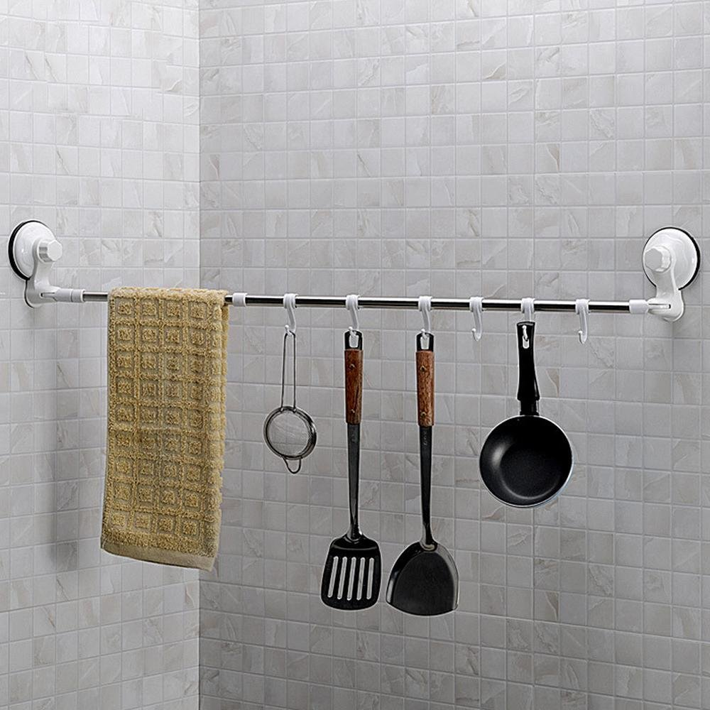 KHSKX Stainless steel suction cup towel rack, single pole rotate telescopic belt hook Towel rack 476110460mm free shipping