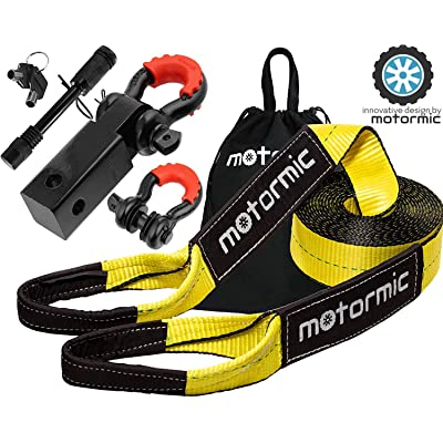 "motormic Tow Strap Recovery Kit – 3"" x 30ft (30,000 lbs.) Rope + 2"" Shackle Hitch Receiver + 5/8"" Locking Pin + 3/4"" D Ring Shackles with Safety Ring + Heavy Duty Bag - Off Road Pick Up Towing: Automotive"