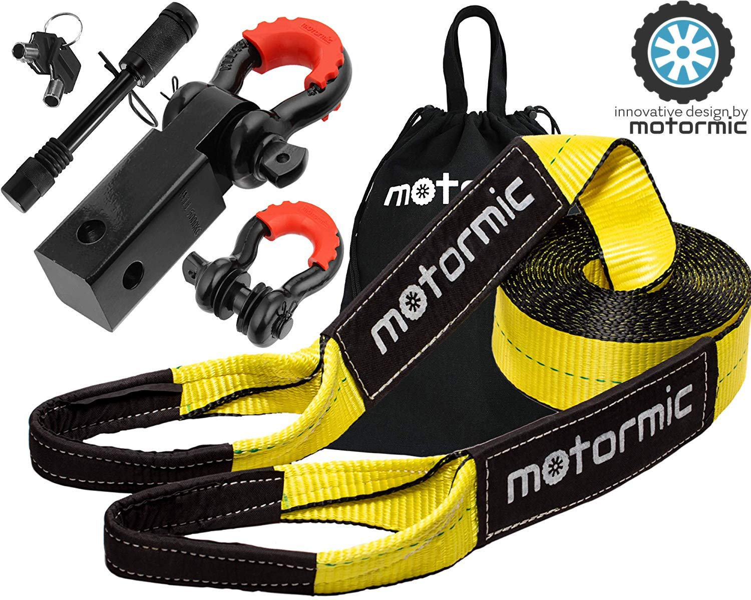 motormic Tow Strap Recovery Kit - 30 ft x 3'' (30,000 lbs.) Rope + 2'' Shackle Hitch Receiver + 5/8'' Locking Pin + 3/4'' D Ring Shackles with Safety Ring + Heavy Duty Bag - Off Road Pick Up Towing by motormic