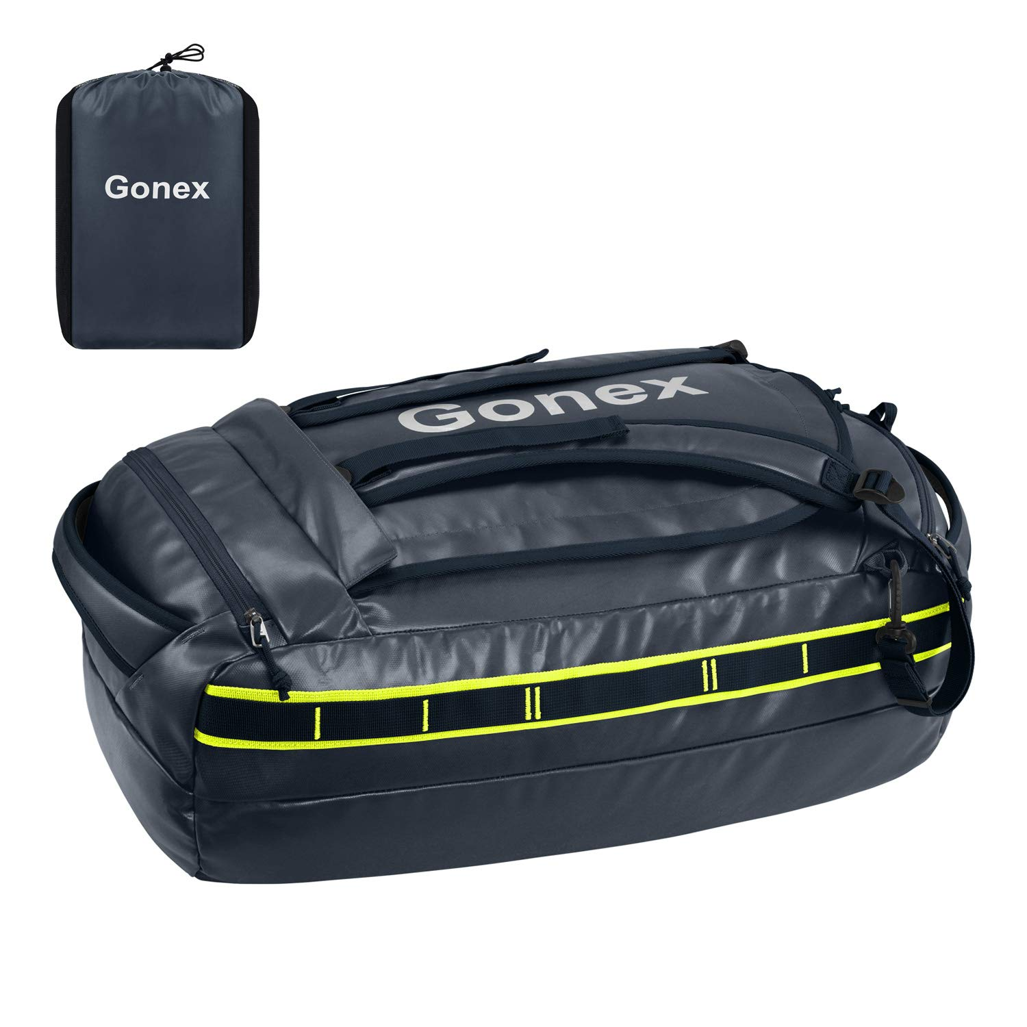 Gonex 60L Waterproof Duffel Outdoor Heavy Duty Duffle Bag with Backpack Straps for Hiking Camping Travelling Cycling for Men Women Dark Blue by Gonex