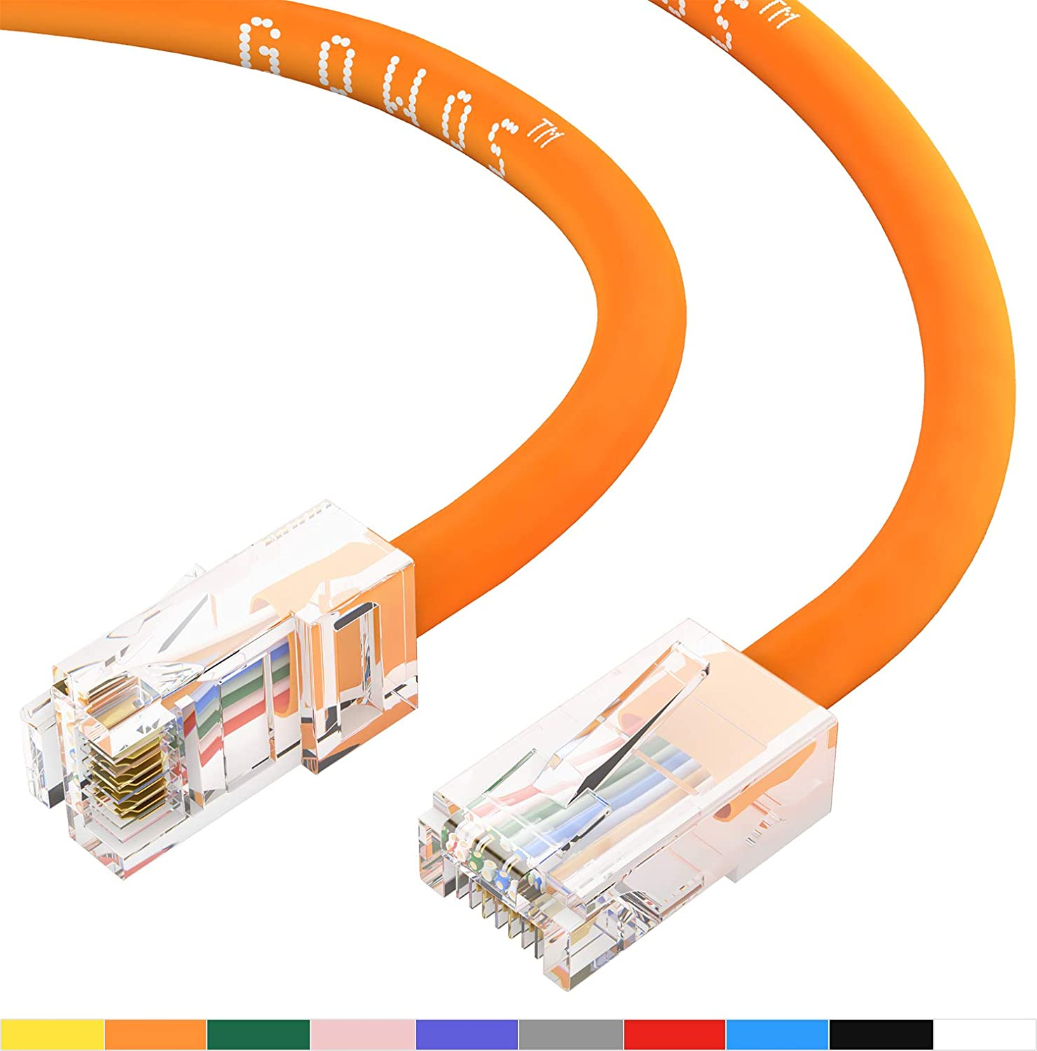 0.5 Feet - Blue GOWOS Cat5e Ethernet Cable 24AWG Network Cable with Gold Plated RJ45 Non-Booted Connector 1Gigabit//Sec High Speed LAN Internet//Patch Cable 350MHz