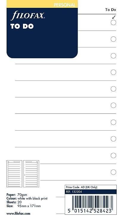 Filofax Personal To Do - Recambio para agenda de anillas (20 hoja de tareas, en inglés, 171 x 95 mm, 70 gsm), color blanco con impresión en negro