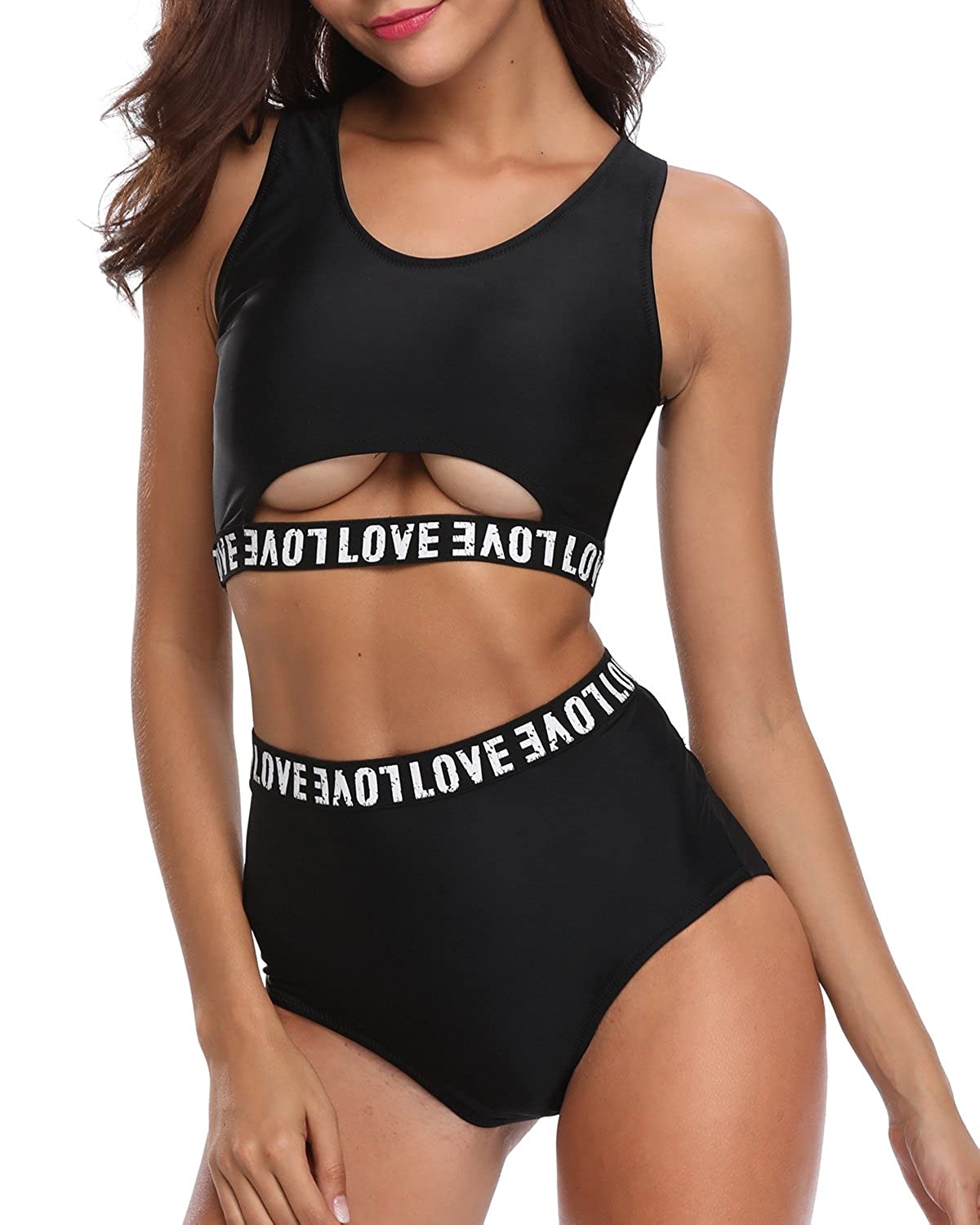 c14a14588f2d8 Amazon.com: Tempt Me Women Two Piece Sexy Cutout Letter Printed Bikini Set  High Waisted Swimsuit: Clothing