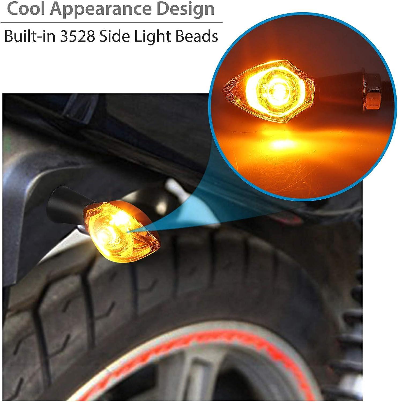 Justech 4PCs Universal 12V Waterproof Motorcycle Motorbike LED Turning Indicators High Power SMD Lamp Bead Mini Turn Signal Indicator Amber Light