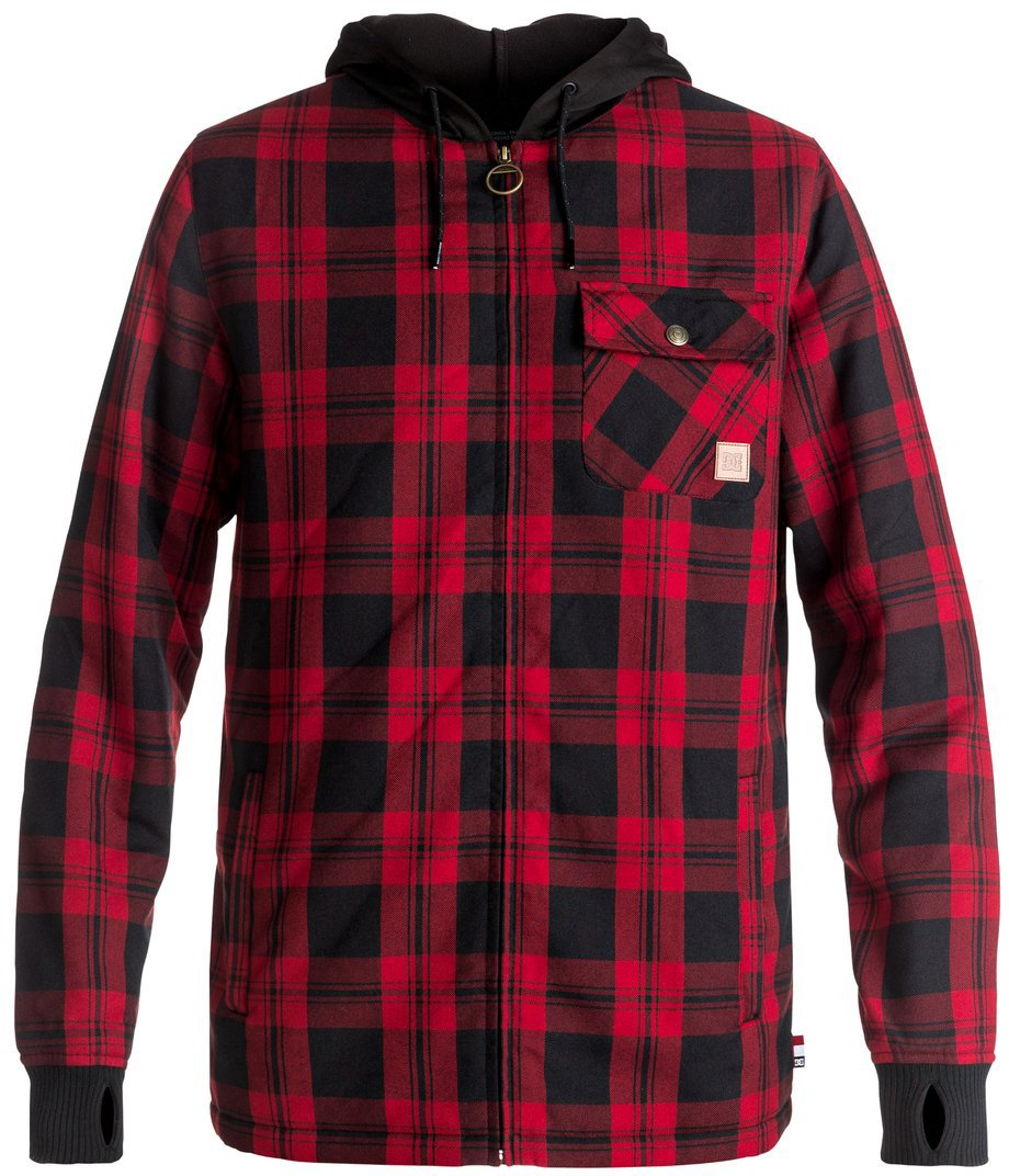 DC Men's Backwoods Insulated Flannel Shirt Water Proof Snowboard Jacket, Moderate Buffalo Plaid Chili Pepper, XS