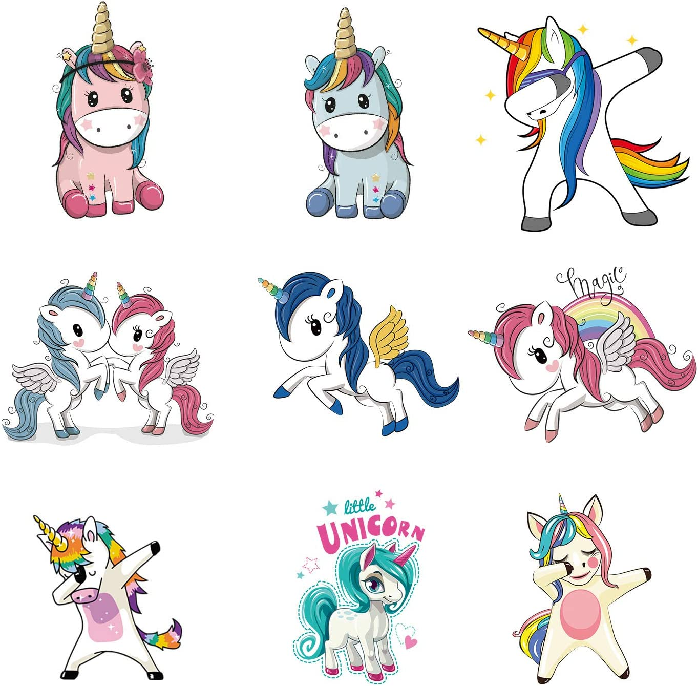 Amazon Com Aot Cartoon Unicorn Iron On Patches For Clothes Kids Heat Transfer Stickers T Shirts Diy Decor Animal Appliques A Level Washable