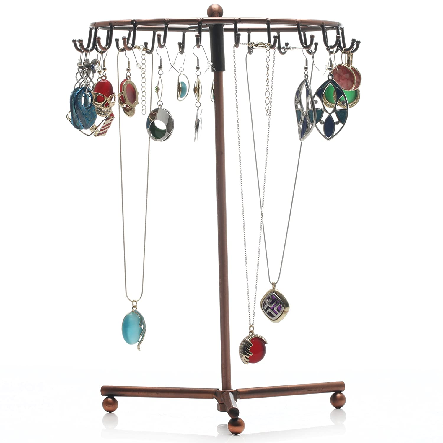 Readaeer Rotating Jewelry Holder Stand Display Organizer Earrings Necklaces Bracelets COMINHKPR100559
