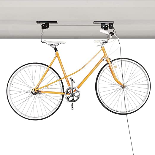 Bike Pulley System Ceiling Mount Bicycle Holder Hanging Lift Storage Garage Home