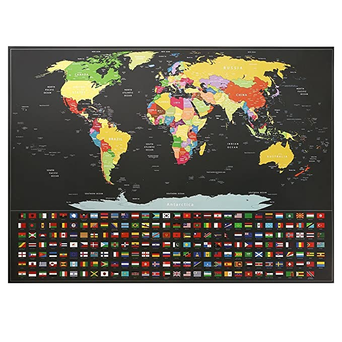 Track Your Adventures. with US States and Country Flags Kakbpe Scratch Off Map of The World Poster