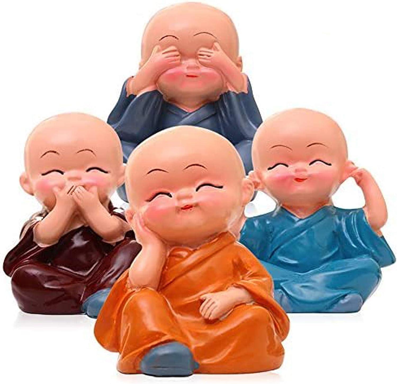 FishMM Set of 4 Monks Figurine, Wise Resin Monks Decorative Ornaments, Hear No Evil See No Evil Speak No Evil Do No Evil Statue, Car Home Desk Shelf Decor Collectible Art