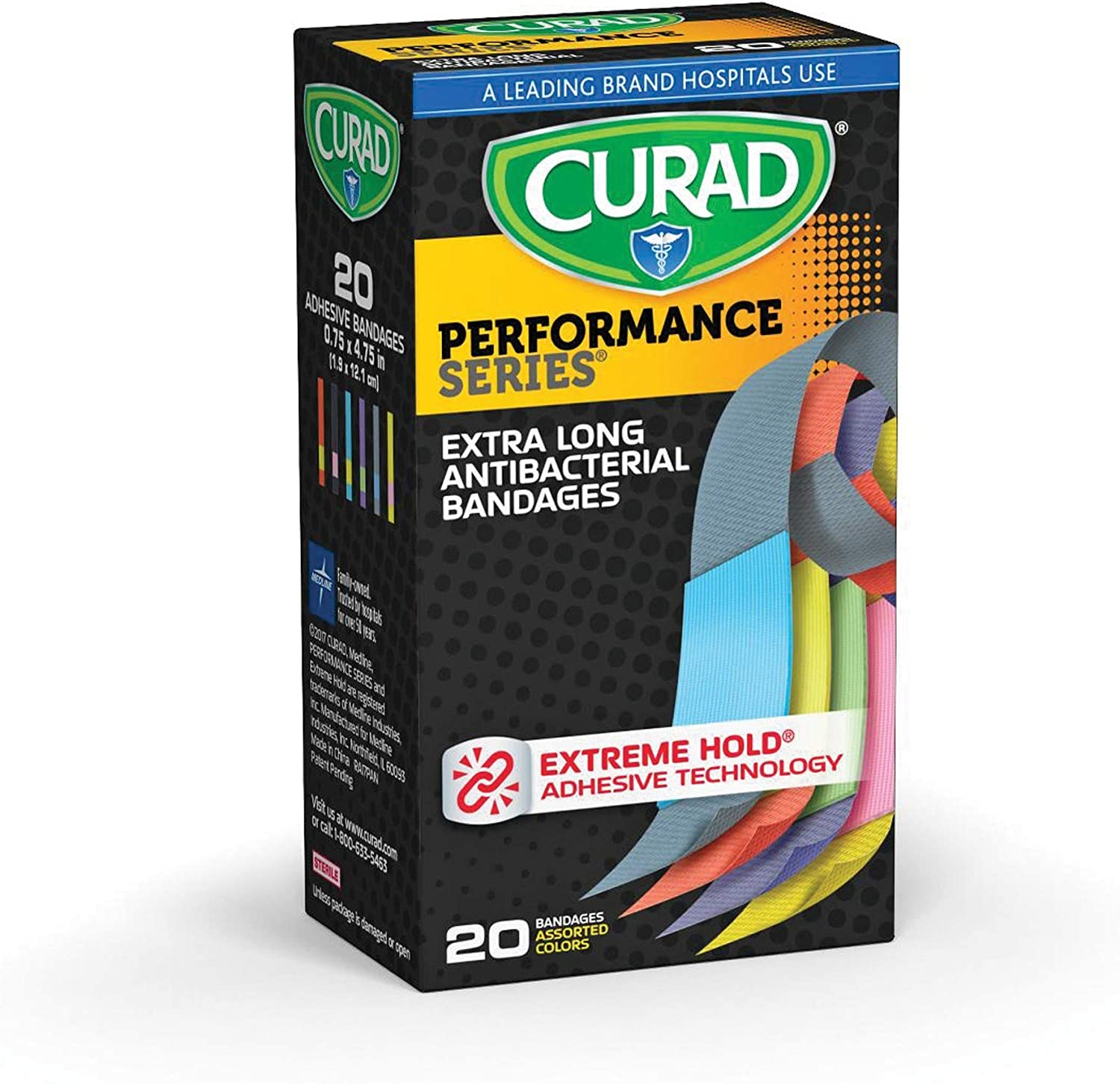 Curad Performance Series Extreme Hold Antibacterial Fabric Bandages