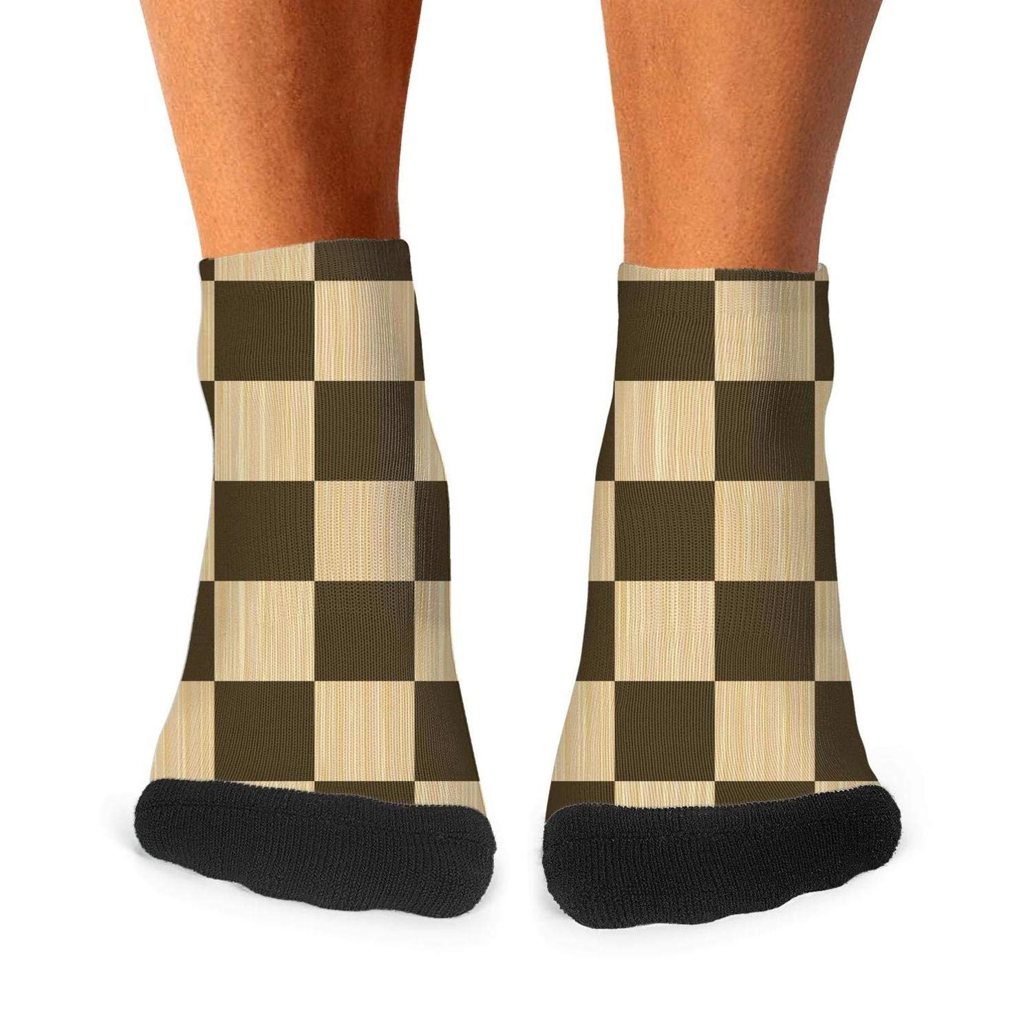 Men Crew Socks checkerboard Chess board Wooden chess board Thin High Ankle Soft Fashion