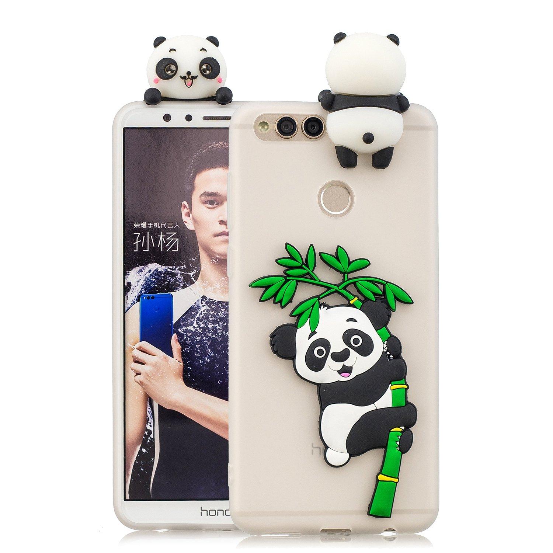 HopMore Coque Huawei Honor 7X Silicone Souple 3D Design Motif Drôle Mignonne Etui Honor 7X Étui Antichoc Ultra Mince Fine Gel Bumper Slim Case Housse Protection pour Fille Femme - Vert Licorne