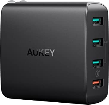 AUKEY Quick Charge 3.0 USB Wall Charger 4 Ports 42W Travel Charger, Compatible Samsung Galaxy S9 / S8+ / Note 8, LG G5 / G6, Nexus 5X / 6P, HTC 10, ...