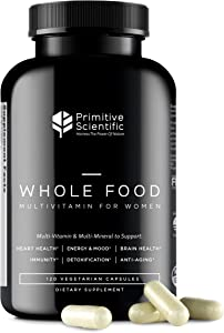 Primitive Scientific Whole Food Multivitamin for Women (120 Vegetarian Capsules) for Holistic Health, Natural Women's Multivitamin for Immune Support, Heart Health, Energy, Cleansing, and More