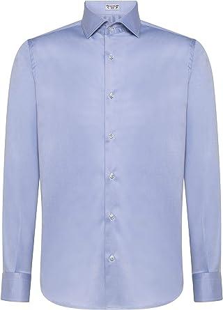 Cashmere Zone - Camisa para hombre, 100% popelina de algodón, fabricada en Italia, cuello francés, Slim Fit y Comfort Regular Fit, manga larga, color liso: Amazon.es: Ropa y accesorios