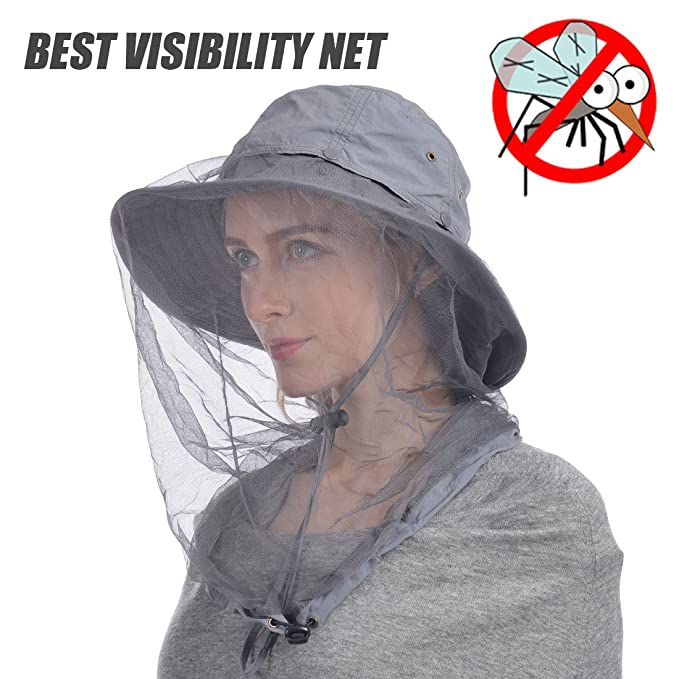 f7cb1843140db Amazon.com   UShake Mosquito Head Net Hat