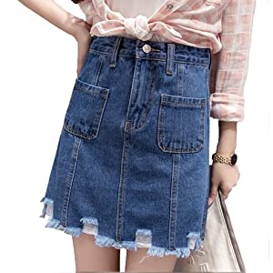 Women's a-Line Denim Skirt With Raw Edged Hem