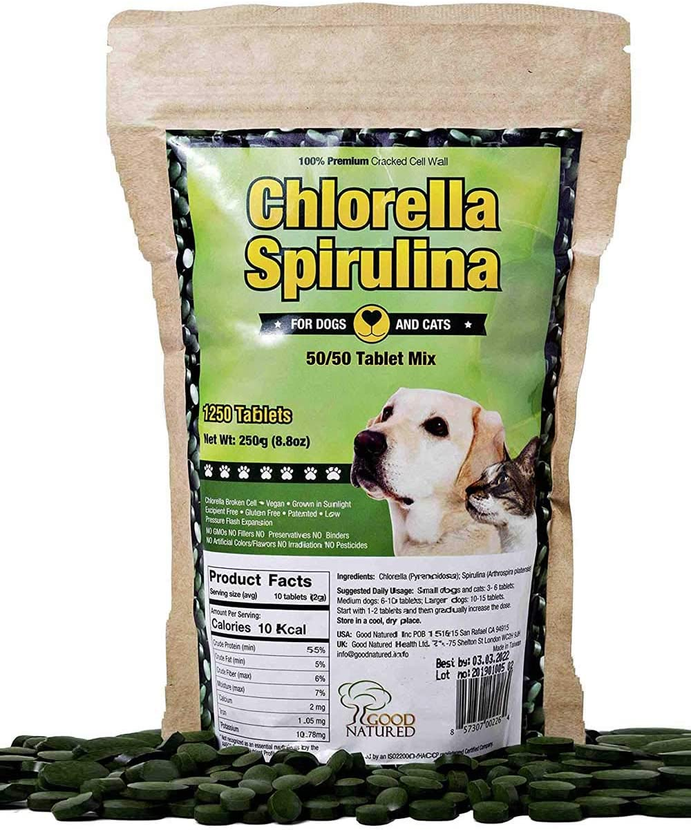 Pet Vitamins Chlorella Spirulina 1,250 Chewable Tablets for Dogs and Cats Non-GMO Vegan High Protein Shiny Coats Human Quality 250g by Good Natured