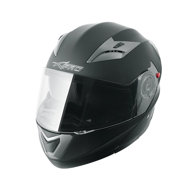 Casco Modulare Apribile Moto Touring Sport Visiera Parasole Argento XL