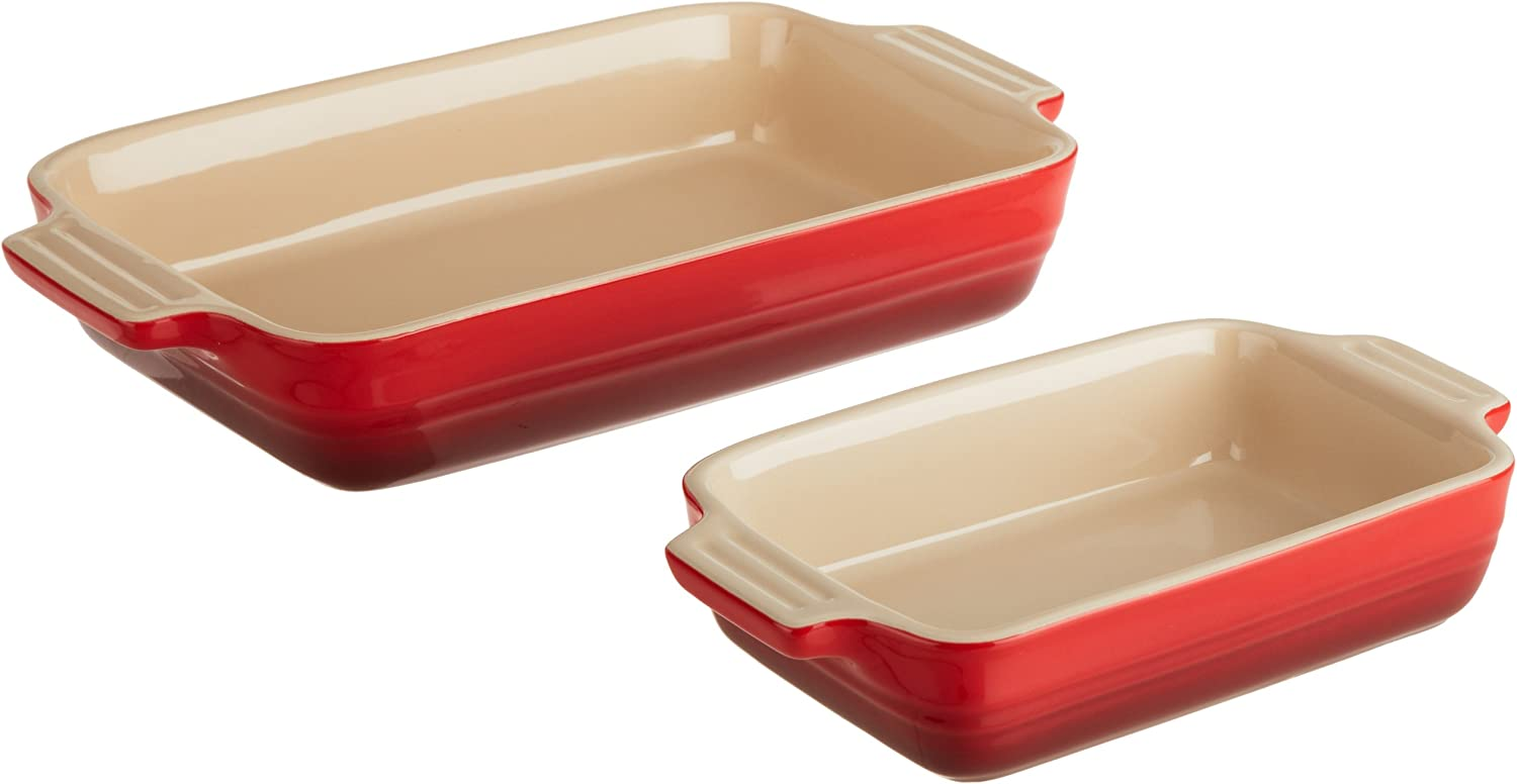 Le Creuset Stoneware 1-1/4-Quart Rectangular Baker with Bonus 16-Ounce Rectangular Baker, Cherry